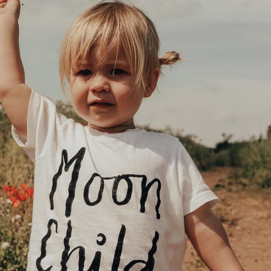 MOON CHILD, STAY WILD KIDS TEE IN WHITE