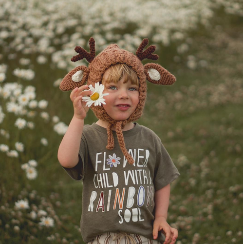 FLOWER CHILD KIDS TEE IN OLIVE
