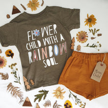 Load image into Gallery viewer, 'FLOWER CHILD' KHAKI KIDS TEE