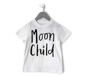 MOON CHILD, STAY WILD ADULT TEE IN WHITE