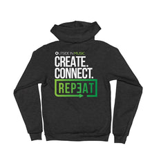 Load image into Gallery viewer, Create Connect Repeat Zip-up Hoodie sweater