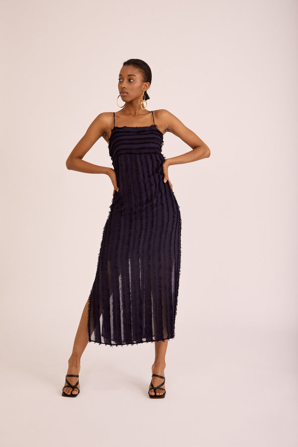 Moss Dress, Navy Fringes
