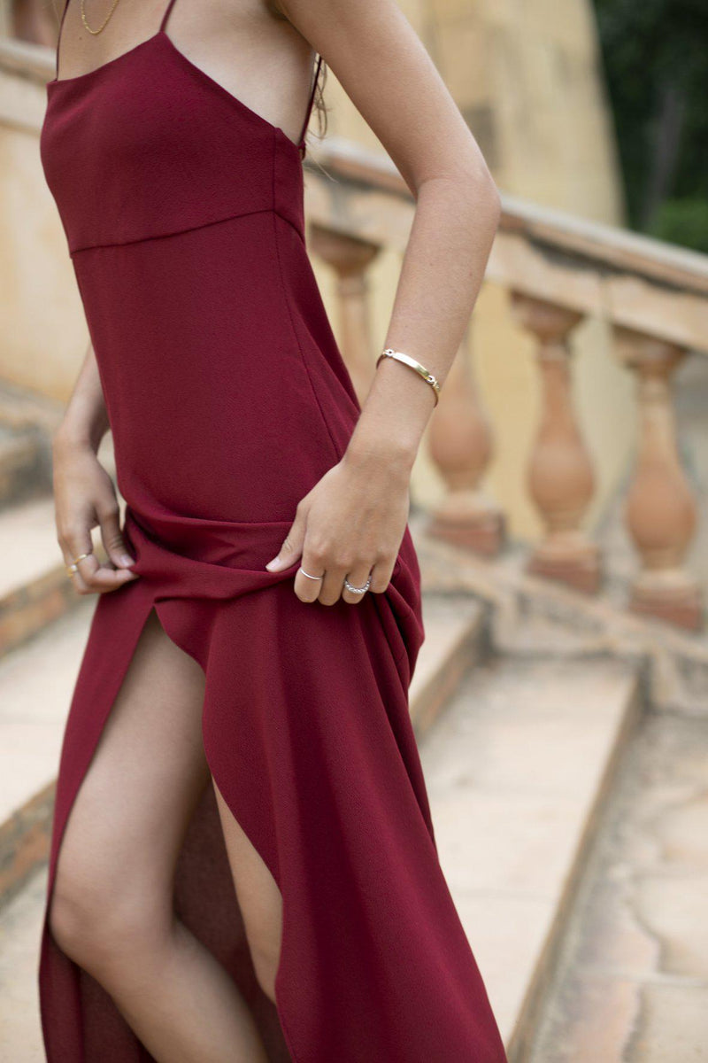 Kate Slip Midi Dress, Burgundy