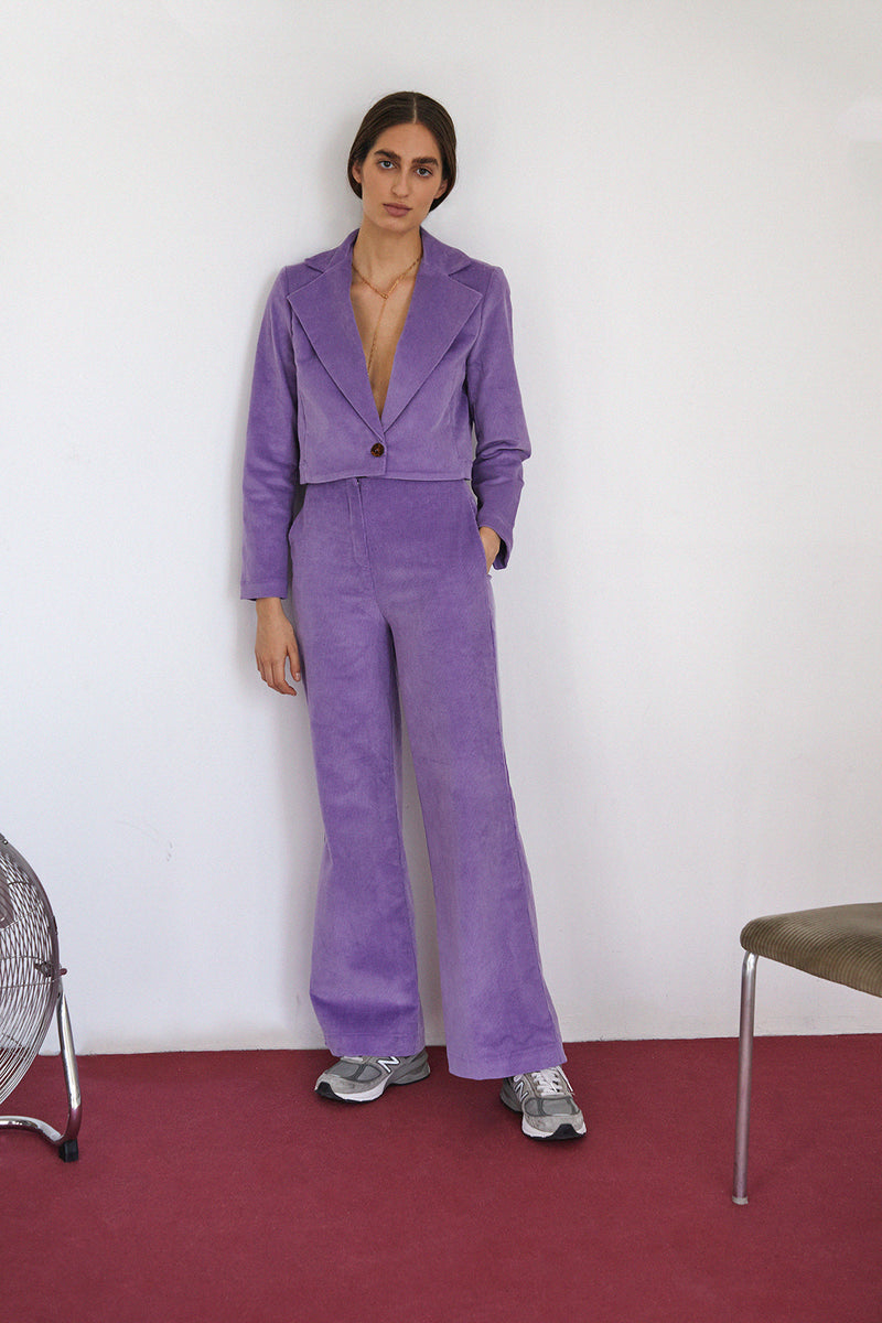 Frida Blazer, Purple Corduroy