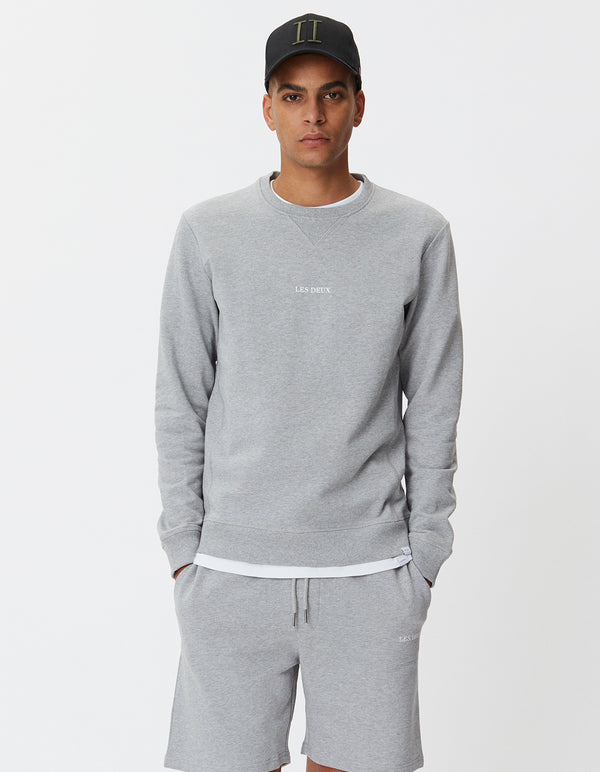 Les Deux MEN Lens Sweatshirt Sweatshirt 310201-Light Grey Melange/White