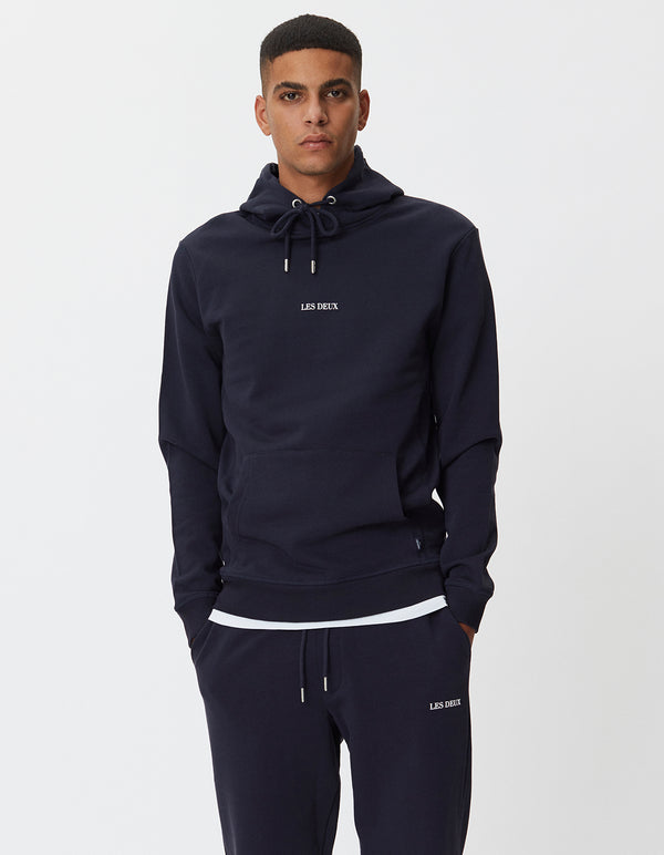 Les Deux MEN Lens Hoodie Hoodie 460201-Dark Navy/White