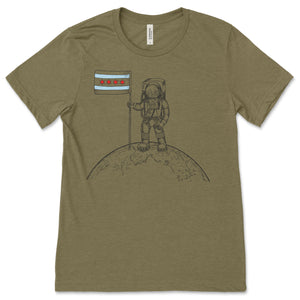 Take me to the Moon! Astronaut with Chicago Flag Unisex T-shirt!