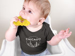 Chicago Circle Skyline Design Baby Jersey Onesie
