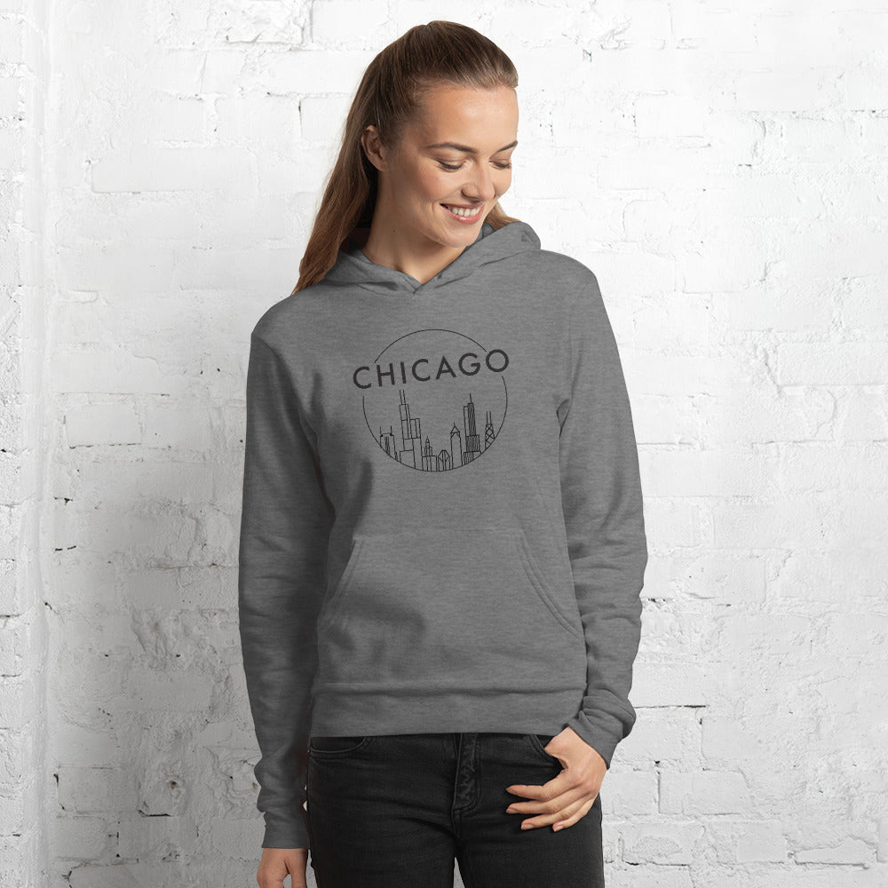 Stylish Chicago Skyline Circle Design with Black ink Unisex Fleece Pullover Hoodie