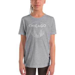 Chicago Skyline Circle design Youth Short Sleeve T-Shirt