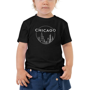 Chicago Circle Skyline design Toddler Short Sleeve Tee