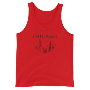 Stylish Chicago Skyline Circle Design with Black ink Unisex Jersey Tank