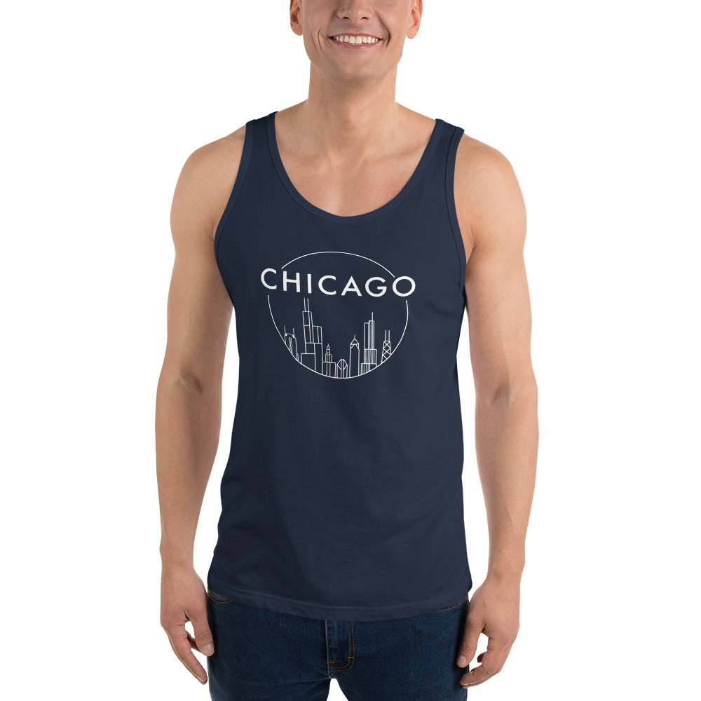 Chicago Skyline Circle Design with White ink Unisex Jersey Tank