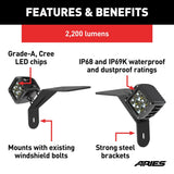 ARIES 1501305 Windshield Lights and Brackets Details