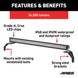 ARIES 1501306 Windshield Light Bar and Brackets, Gladiator, Wrangler Details