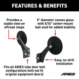 3500300 ARIES Offroad Tube Door Mirrors (2-Pack) Features