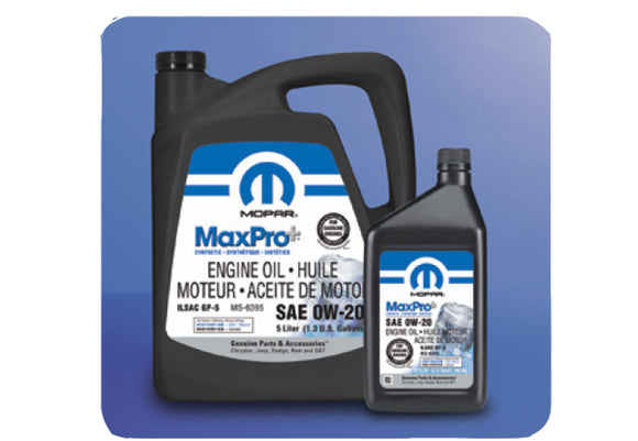Jeep Mopar 0W-20 Full Synthetic Engine Oil, 2020 Gladiator JT, 2018-2020 Wrangler JL, 3.6L V6
