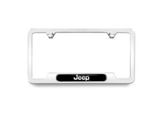 82213251AB-GC Jeep Mopar License Plate Frame, Polished with Jeep Logo, Grand Cherokee