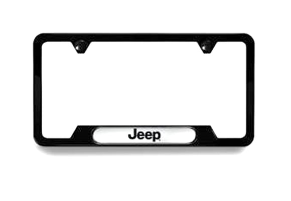 82213252AB Jeep Mopar License Plate Frame, Black with Jeep Logo, Gladiator, Wrangler