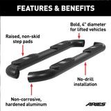 "AL231009 ARIES Big Step 4"" Black Aluminum Round Side Bars Diagram"