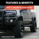 "AL231009 ARIES Big Step 4"" Black Aluminum Round Side Bars Installed"