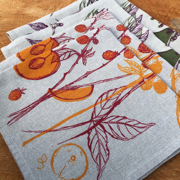 Elderberry & Pear + Golden Raspberry & Plum | Set of Four Napkins