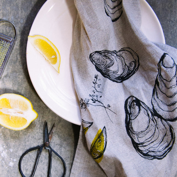 Oyster + Lemon Tea Towel