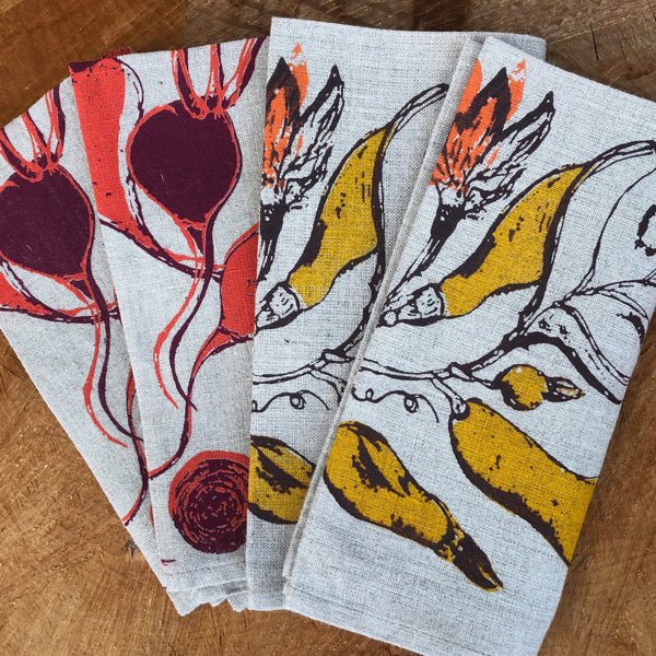 Golden Squash + Sweet Beets | Set of Four Napkins