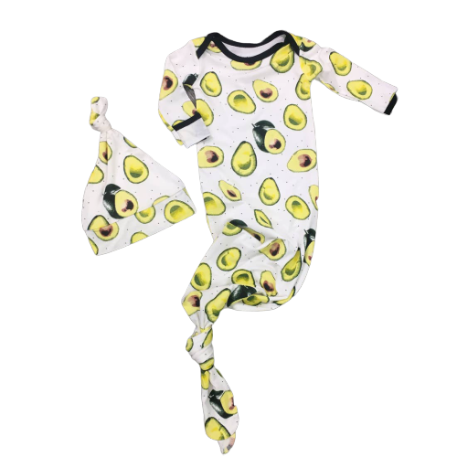Avocado Newborn Knotted Gown + Hat