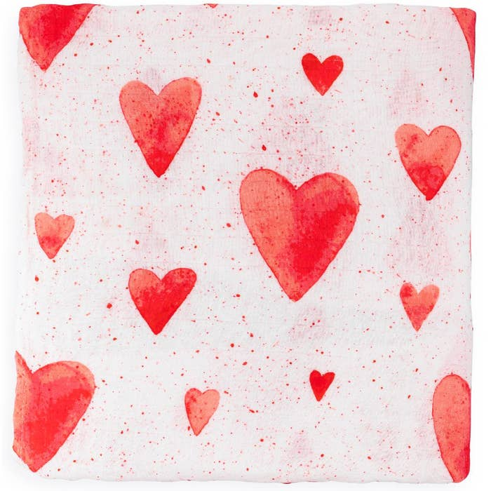 Red Hearts Swaddle Blanket