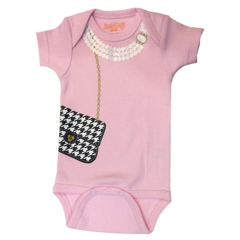 Pink Houndstooth Bag Snapsuit