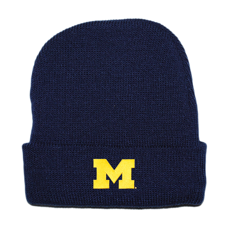University of Michigan U of M College Football Navy Blue Yellow Knit Hat Beanie Baby Tadpoles & Tiddlers Cleveland Bath Akron Ohio