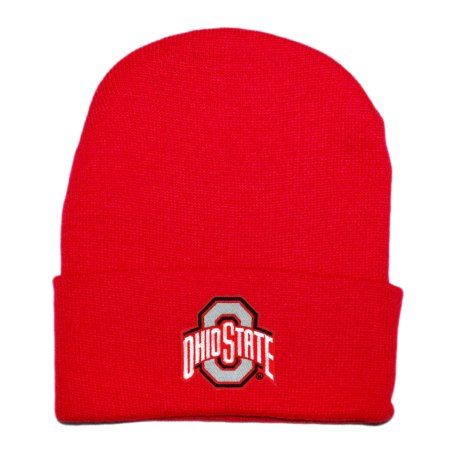 Creative Knitwear Red Knit Beanie Hat OSU Ohio State University College Football Baby Newborn Tadpoles & Tiddlers Cleveland Bath Akron Ohio