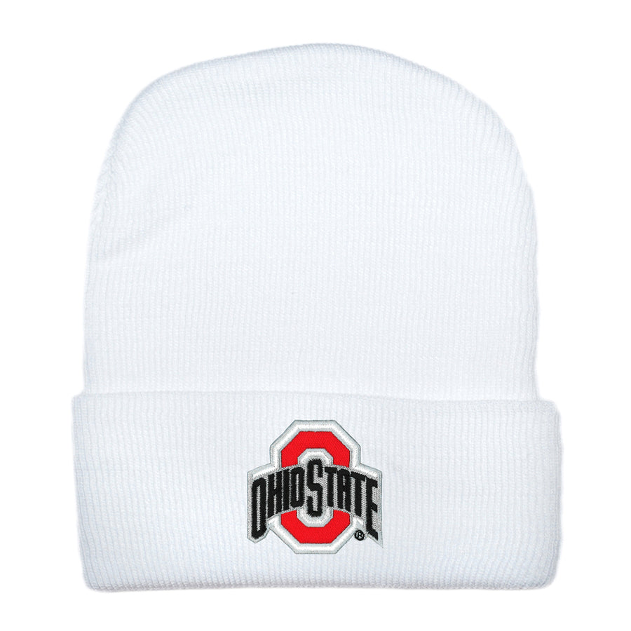 Creative Knitwear White Red Football OSU Ohio State University College Hat Beanie Baby Newborn Tadpoles & Tiddlers Bath Akron Cleveland Ohio