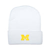 University of Michigan U of M College Football White Yellow Knit Hat Baby Tadpoles & Tiddlers Cleveland Bath Akron Ohio