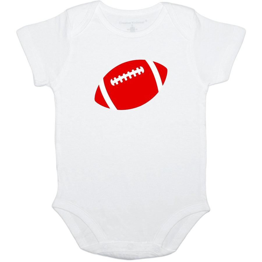 Creative Knitwear White Red Football OSU Ohio State University College Team Baby Onesie Tadpoles & Tiddlers Akron Bath Cleveland Ohio