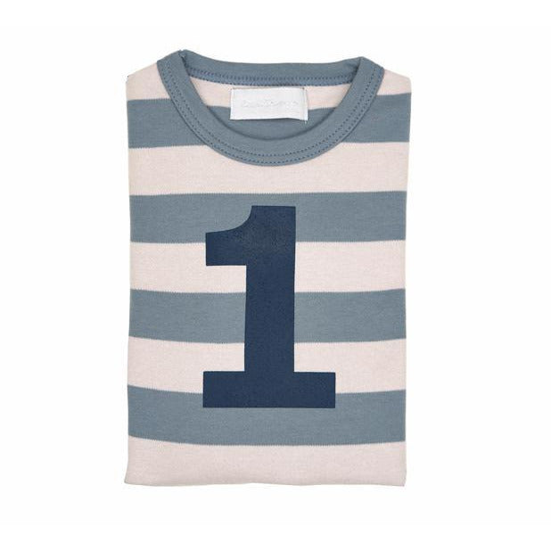 Number 1 Long Sleeve Tee-Slate Stripe