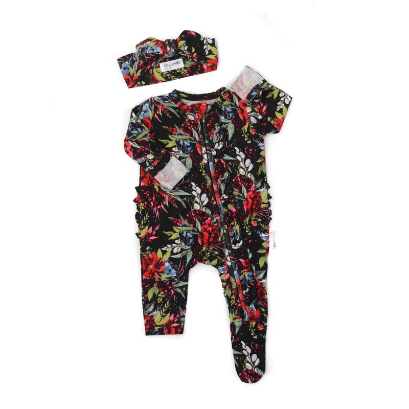 Red and Black Floral Swaddle
