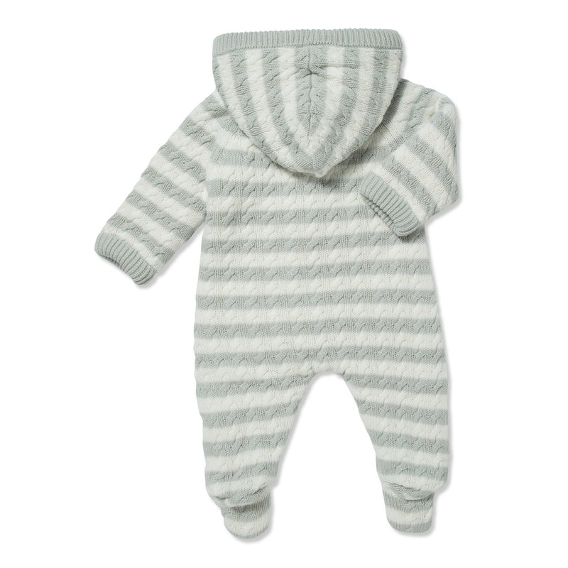 Grey Sherpa Hooded Footie