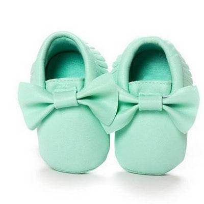 Emerson and Friends mint green bow fringe moccasin baby girl