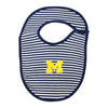 University of Michigan Wolverines College Navy Blue Gold Stripe Baby Bib Tadpoles & Tiddlers Cleveland Bath Akron Ohio