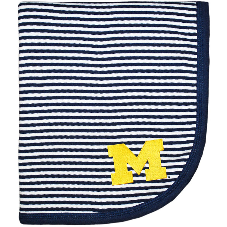 Creative Knitwear Navy Blue White Stripe U of M University of Michigan Wolverines College Football Baby Blanket Tadpoles & Tiddlers Akron Bath Cleveland Ohio