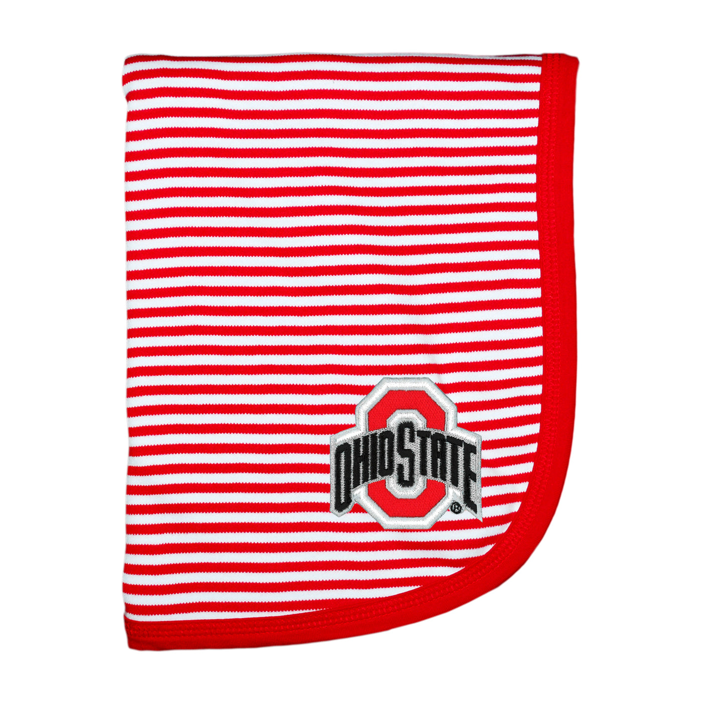 Ohio State University Striped Baby Blanket