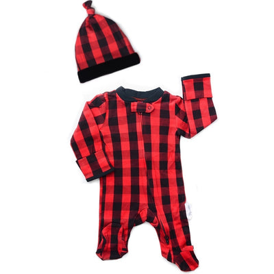 Hudson Buffalo Plaid Footie + Hat