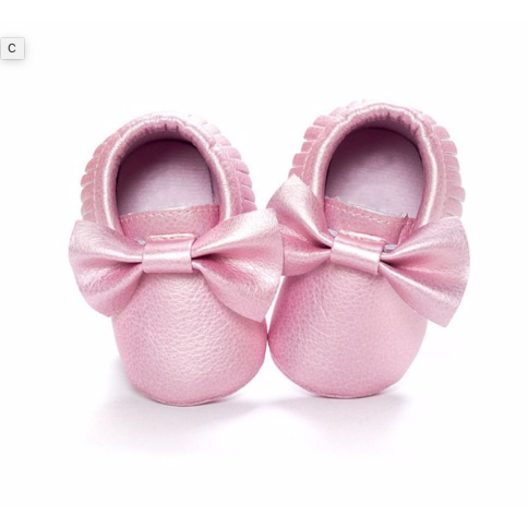 Pretty In Pink Bow Metallic Baby Moccasins