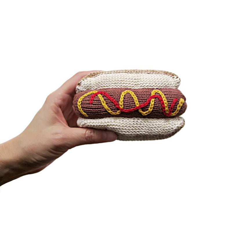 Hot Dog Knit Rattle