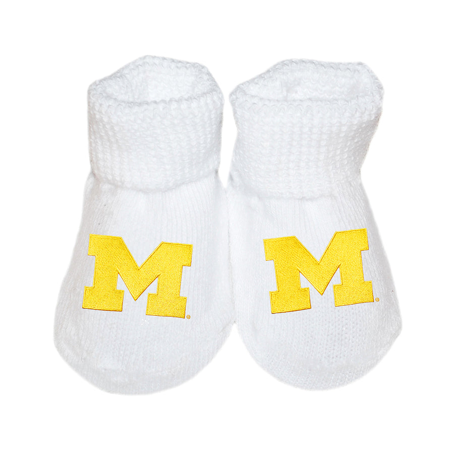 Creative Knitwear University of Michigan U of M Football College White Gold Socks Booties Baby Tadpoles & Tiddlers Bath Akron Cleveland Ohio
