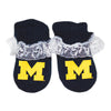 Creative Knitwear U of M University of Michigan Wolverines College Lace Booties Baby Girl Tadpoles & Tiddlers Bath Akron Cleveland Ohio