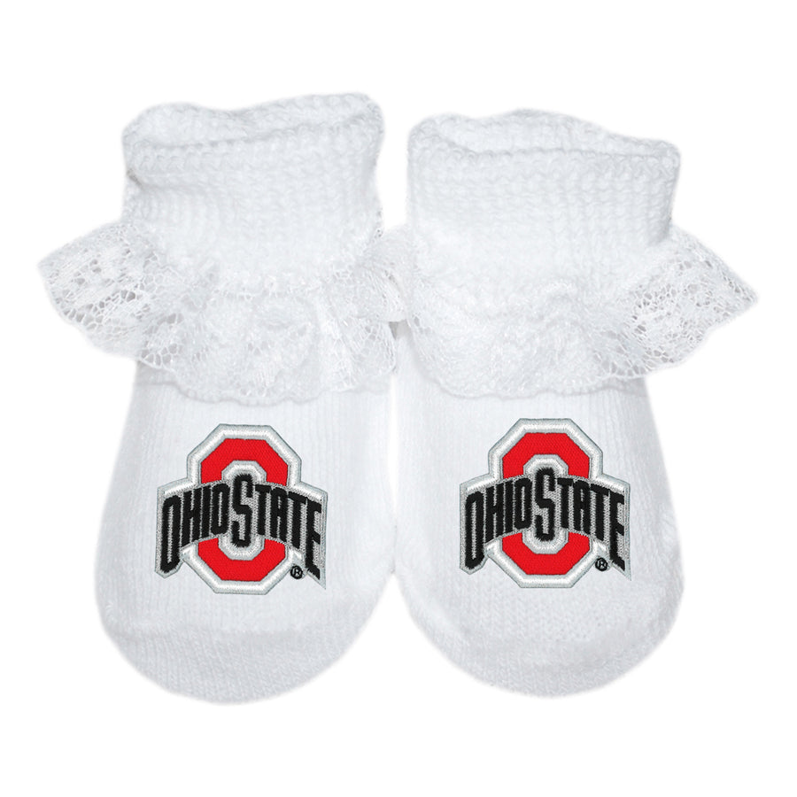 9e39d7af6ae Creative Knitwear OSU Ohio State University Buckeyes College White Socks  Booties Lace Baby Tadpoles   Tiddlers