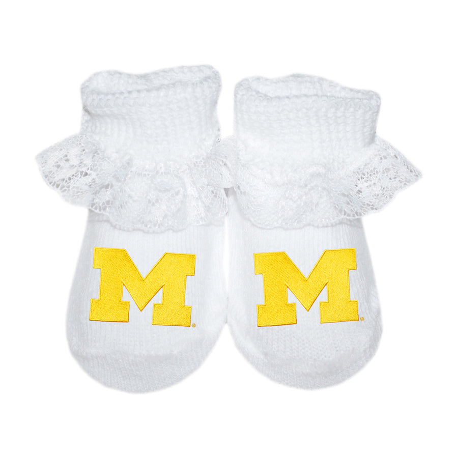 U of M Lace Booties - White